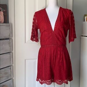 NWT Socialite Red Lace Romper